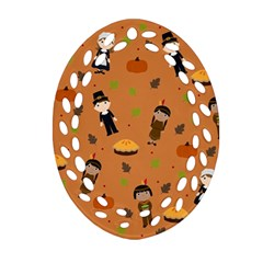Pilgrims And Indians Pattern   Thanksgiving Oval Filigree Ornament (two Sides) by Valentinaart