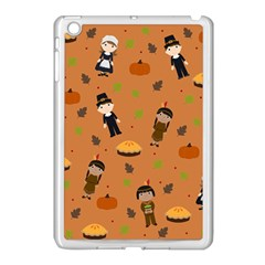 Pilgrims And Indians Pattern   Thanksgiving Apple Ipad Mini Case (white) by Valentinaart