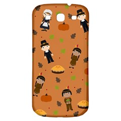 Pilgrims And Indians Pattern   Thanksgiving Samsung Galaxy S3 S Iii Classic Hardshell Back Case by Valentinaart