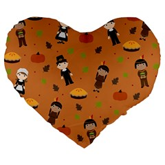 Pilgrims And Indians Pattern   Thanksgiving Large 19  Premium Heart Shape Cushions by Valentinaart