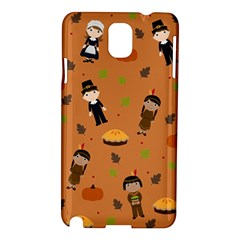 Pilgrims And Indians Pattern   Thanksgiving Samsung Galaxy Note 3 N9005 Hardshell Case by Valentinaart