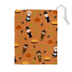 Pilgrims And Indians Pattern   Thanksgiving Drawstring Pouches (extra Large) by Valentinaart