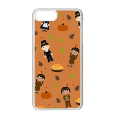 Pilgrims And Indians Pattern   Thanksgiving Apple Iphone 8 Plus Seamless Case (white) by Valentinaart