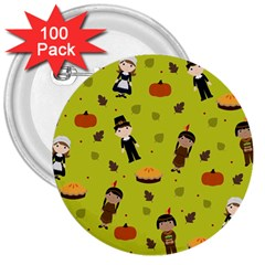 Pilgrims And Indians Pattern   Thanksgiving 3  Buttons (100 Pack)  by Valentinaart