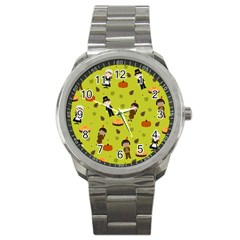 Pilgrims And Indians Pattern   Thanksgiving Sport Metal Watch by Valentinaart