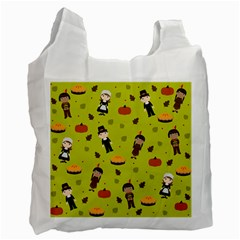 Pilgrims And Indians Pattern   Thanksgiving Recycle Bag (one Side) by Valentinaart