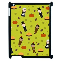 Pilgrims And Indians Pattern   Thanksgiving Apple Ipad 2 Case (black) by Valentinaart
