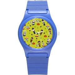 Pilgrims And Indians Pattern   Thanksgiving Round Plastic Sport Watch (s) by Valentinaart