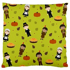 Pilgrims And Indians Pattern   Thanksgiving Large Cushion Case (one Side) by Valentinaart
