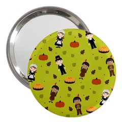 Pilgrims And Indians Pattern   Thanksgiving 3  Handbag Mirrors by Valentinaart
