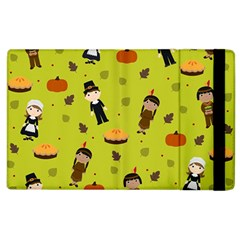 Pilgrims And Indians Pattern   Thanksgiving Apple Ipad 2 Flip Case by Valentinaart