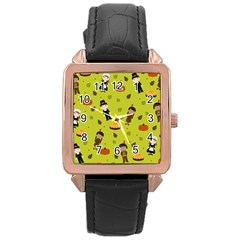 Pilgrims And Indians Pattern   Thanksgiving Rose Gold Leather Watch  by Valentinaart