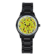 Pilgrims And Indians Pattern   Thanksgiving Stainless Steel Round Watch by Valentinaart