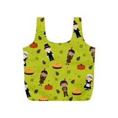 Pilgrims And Indians Pattern   Thanksgiving Full Print Recycle Bags (s)  by Valentinaart