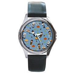 Pilgrims And Indians Pattern   Thanksgiving Round Metal Watch
