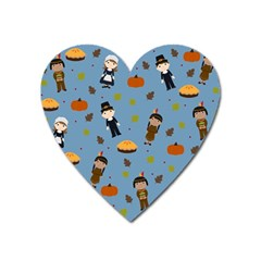 Pilgrims And Indians Pattern   Thanksgiving Heart Magnet by Valentinaart