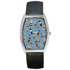 Pilgrims And Indians Pattern   Thanksgiving Barrel Style Metal Watch by Valentinaart