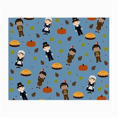 Pilgrims And Indians Pattern   Thanksgiving Small Glasses Cloth (2 Side) by Valentinaart