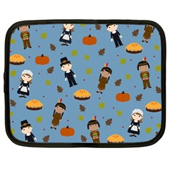 Pilgrims And Indians Pattern   Thanksgiving Netbook Case (large) by Valentinaart