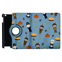 Pilgrims And Indians Pattern   Thanksgiving Apple Ipad 3/4 Flip 360 Case by Valentinaart
