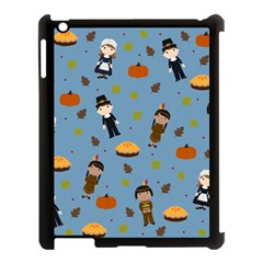 Pilgrims And Indians Pattern   Thanksgiving Apple Ipad 3/4 Case (black) by Valentinaart