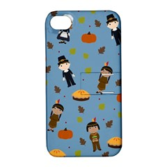Pilgrims And Indians Pattern   Thanksgiving Apple Iphone 4/4s Hardshell Case With Stand by Valentinaart