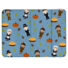 Pilgrims And Indians Pattern   Thanksgiving Samsung Galaxy Tab 7  P1000 Flip Case by Valentinaart