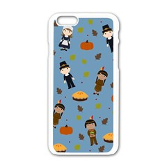 Pilgrims And Indians Pattern   Thanksgiving Apple Iphone 6/6s White Enamel Case by Valentinaart