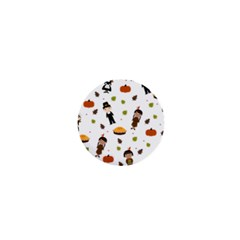 Pilgrims And Indians Pattern   Thanksgiving 1  Mini Buttons by Valentinaart