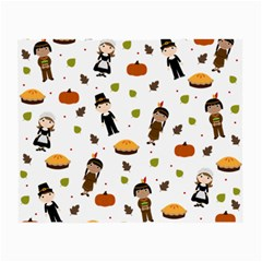 Pilgrims And Indians Pattern   Thanksgiving Small Glasses Cloth by Valentinaart