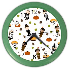 Pilgrims And Indians Pattern   Thanksgiving Color Wall Clocks by Valentinaart