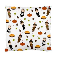 Pilgrims And Indians Pattern   Thanksgiving Standard Cushion Case (one Side) by Valentinaart