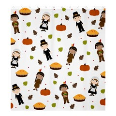 Pilgrims And Indians Pattern   Thanksgiving Shower Curtain 66  X 72  (large)  by Valentinaart