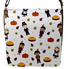 Pilgrims And Indians Pattern   Thanksgiving Flap Messenger Bag (s) by Valentinaart