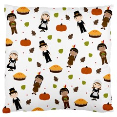 Pilgrims And Indians Pattern   Thanksgiving Large Flano Cushion Case (two Sides) by Valentinaart