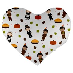 Pilgrims And Indians Pattern   Thanksgiving Large 19  Premium Flano Heart Shape Cushions by Valentinaart