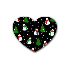 Snowman Pattern Rubber Coaster (heart)  by Valentinaart