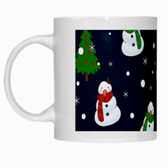 Snowman Pattern White Mugs by Valentinaart