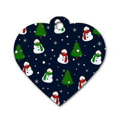 Snowman Pattern Dog Tag Heart (one Side) by Valentinaart