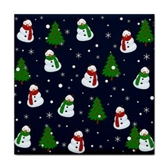 Snowman Pattern Face Towel by Valentinaart