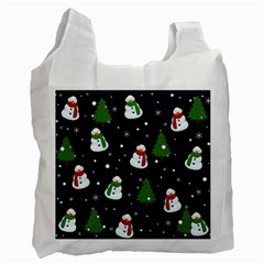 Snowman Pattern Recycle Bag (one Side) by Valentinaart