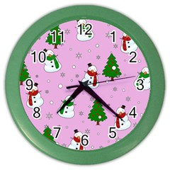 Snowman Pattern Color Wall Clocks by Valentinaart
