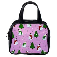 Snowman Pattern Classic Handbags (one Side) by Valentinaart