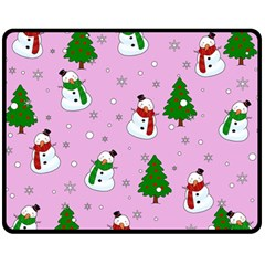 Snowman Pattern Fleece Blanket (medium)  by Valentinaart