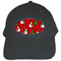 Snowman Pattern Black Cap