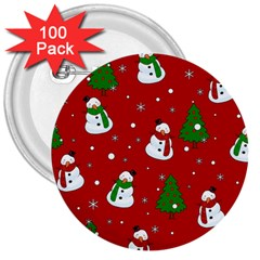 Snowman Pattern 3  Buttons (100 Pack)  by Valentinaart