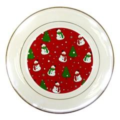 Snowman Pattern Porcelain Plates by Valentinaart