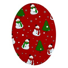 Snowman Pattern Oval Ornament (two Sides) by Valentinaart