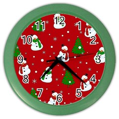 Snowman Pattern Color Wall Clocks by Valentinaart