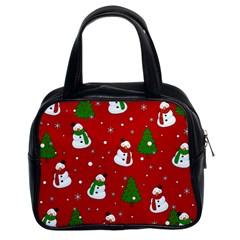 Snowman Pattern Classic Handbags (2 Sides) by Valentinaart